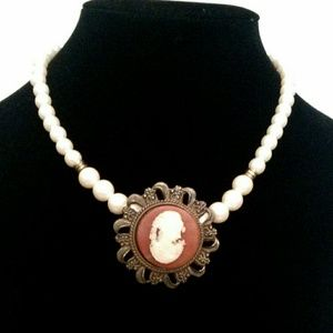 Vintage Faux Pearl Cameo Necklace